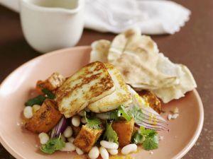 Zypriotischer Grillkäse (Halloumi) mit Bohnen-Kürbis-Salat Rezept