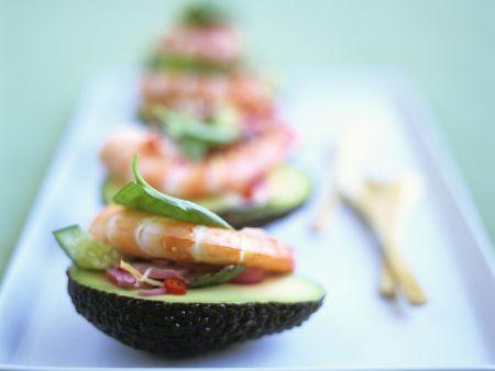 Avocado mit Shrimps