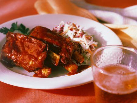 Barbecue-Spareribs mit Krautsalat