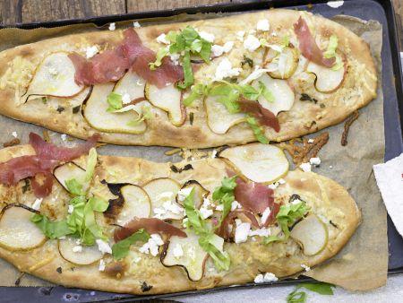 Birnen-Pizza mit Bündner Fleisch