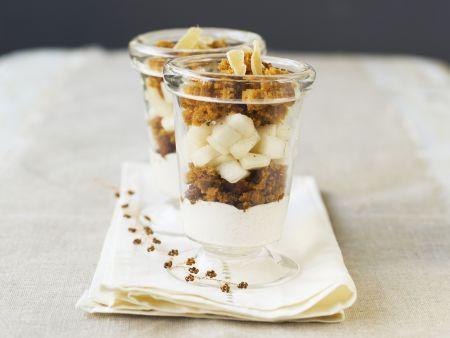 Birnen-Trifle mit Ingwer und Gewürzbrot (Pain Epices)