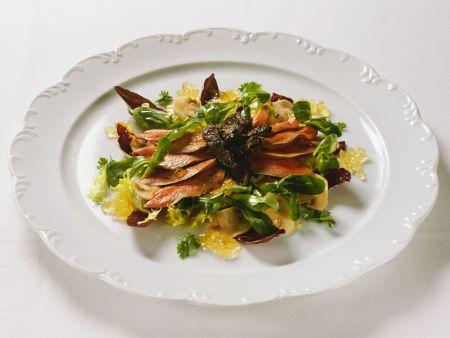 Blattsalat mit Trüffel und Entenbrust