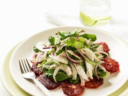 Blutorangen-Fenchel-Salat mit Hähnchen