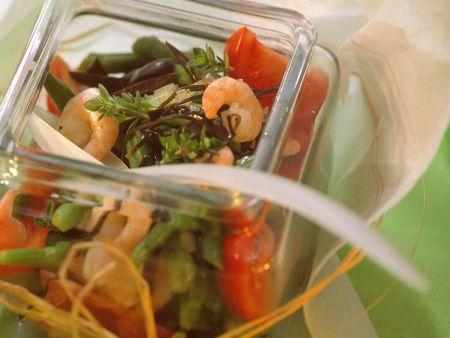 Bohnensalat mit Garnelen und Arame