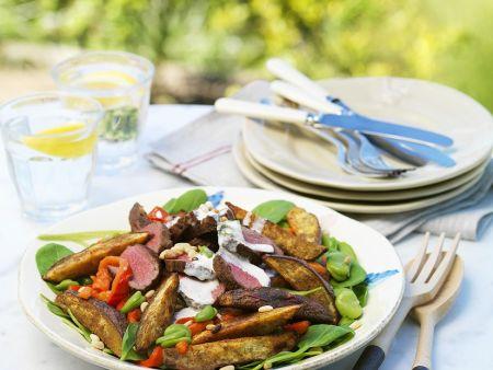 Bohnensalat mit Kartoffeln und Rinderfilet