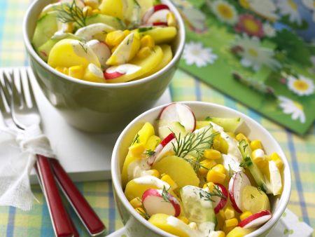 Bunter Kartoffelsalat mit Gurke und Radieschen
