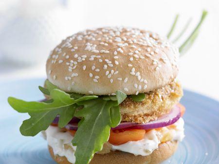 Burger mit Fisch und Ingwer-Mayo