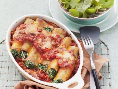 Cannelloni gefüllt mit Spinat und Ricotta