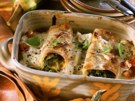 Cannelloni mit Kürbis und Spinat gefüllt