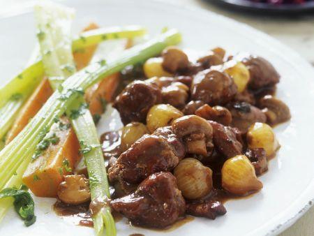 Champignon-Enten-Ragout mit Zwiebeln