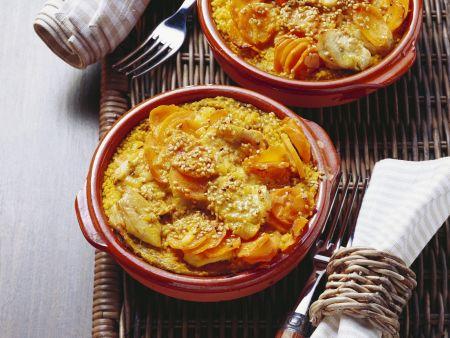 Couscousauflauf mit Möhre, Pute und Sesam