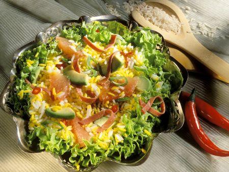Curryreissalat mit Avocado und Grapefruit