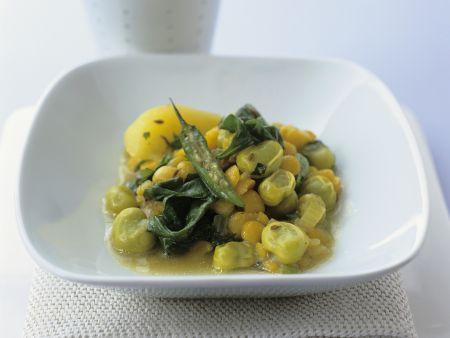 Dicke Bohnen-Kichererbsen-Topf mit Kümmelkartoffeln