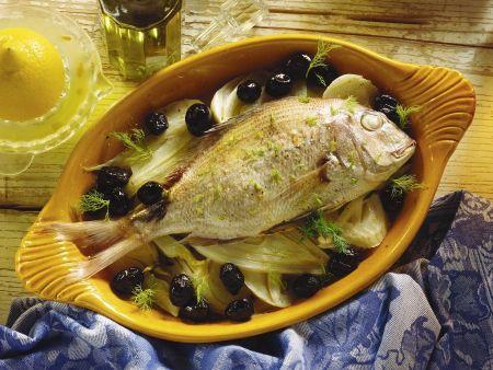 Dorade mit Fenchel und Oliven