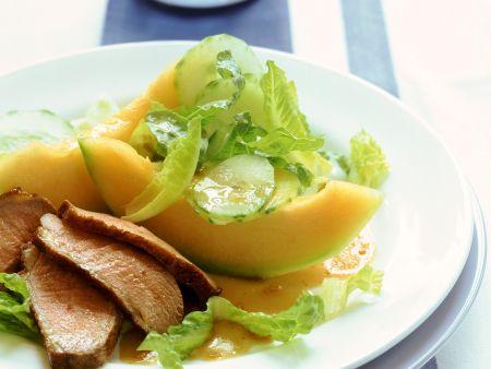 Entenbrust mit Melone und Blattsalat