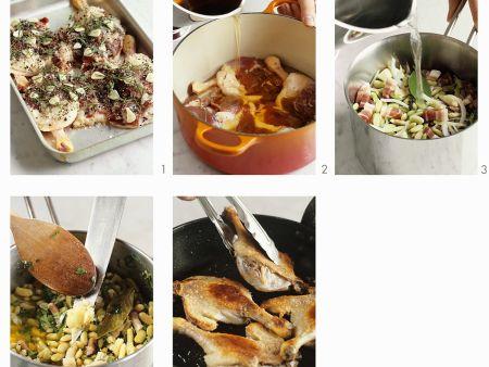 Entenconfit auf Flageoletbohnen zubereiten