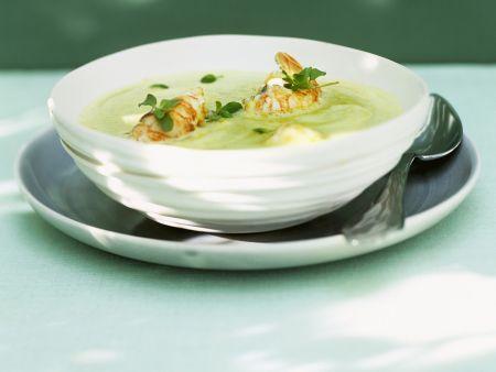 Erbsen-Safran-Suppe mit Langusten