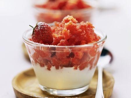 Erdbeersorbet mit Vanillecreme