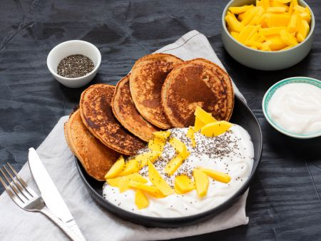 Pancake, vegan, Obst, Mango