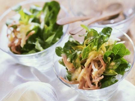 Feldsalat mit Schinken