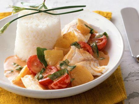Kirsch-Curry mit Fisch und Ananas