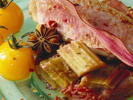 Fisch mit Tomaten und Rhabarber