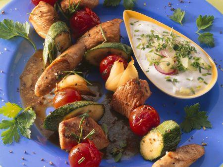 Fleisch-Gemüse-Spieße mit Joghurtsoße
