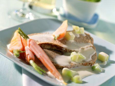 Frikandeau in Gemüse-Milch-Sauce