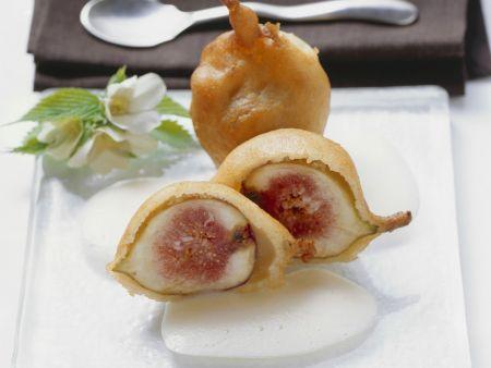 Frittierte Feigen mit Prosecco-Schaum