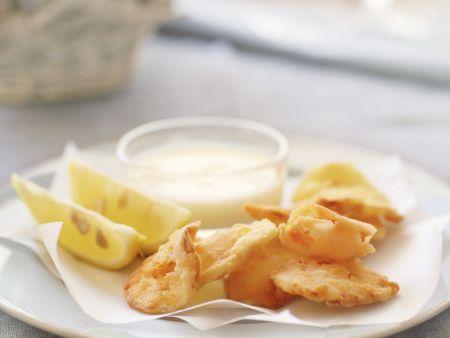 Frittierte Sellerie-und Karottenblätter dazu Buttermilchdip