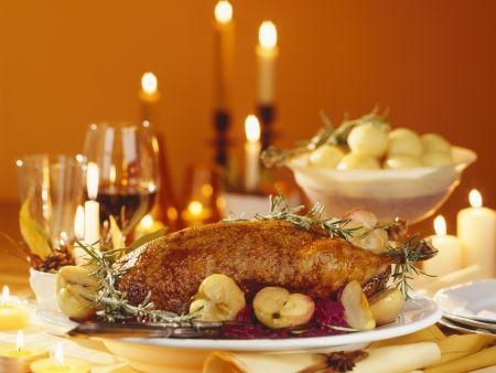 g nsebraten mit apfelblaukraut zu weihnachten rezept eat. Black Bedroom Furniture Sets. Home Design Ideas