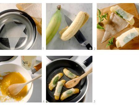 Gebratene Bananen im Reispapier