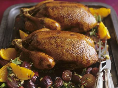 Gebratene Ente mit Zwiebeln und Orangen in-Honig-Rosmarin-Marinade