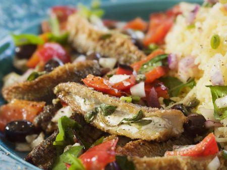 Gebratener Hering mit Püree und Salat