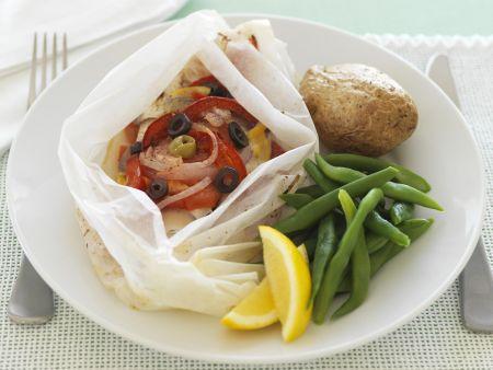 Gedämpftes Fischfilet mit Gemüse