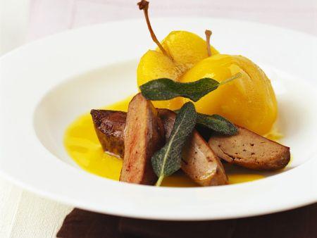 Geflügelleber mit Pfirsichsauce