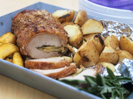Gefülltes Schweinefilet mit Kartoffeln