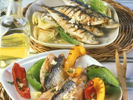 Gegrillte Sardinen mit Gemüse