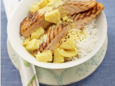 Gegrillter Lachs mit Ananas