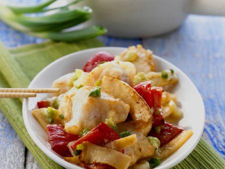 Gemüse-Fisch-Pfanne aus dem Wok