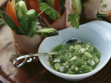 Gemüse-Kasslerröllchen mit Spargeldip