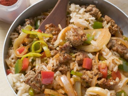 Gemüse-Reis-Pfanne mit Schweinefleisch
