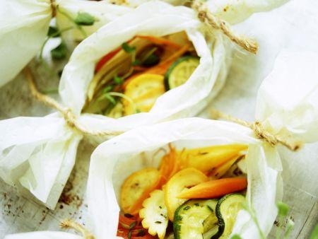 Gemüsepäckchen aus dem Ofen
