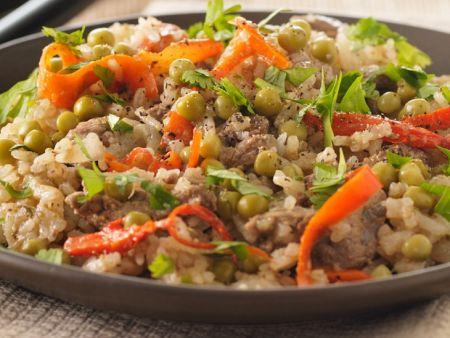 Gemüsereis mit Rindlfleisch