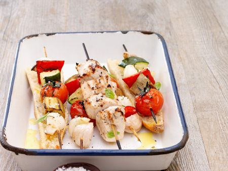 Gemüsespieße mit Hähnchen vom Grill