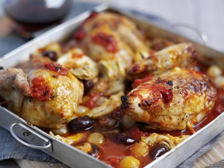 Geschmortes Hühnchen mit Gemüse-Tomatensoße