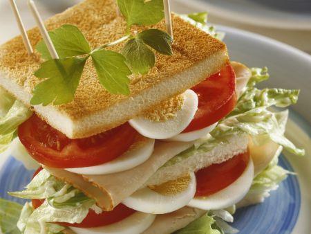 Großes Sandwich mit Putenschinken, Ei und Tomate