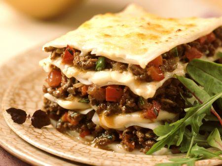 Hackfleisch-Lasagne mit Paprika