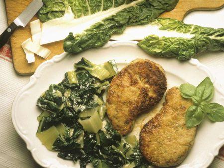 Hackfleisch-Schnitzel mit Mangold