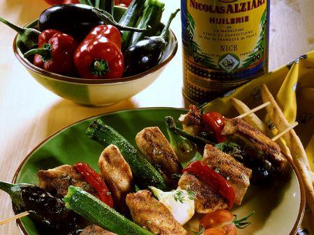 Hähnchen-Gemüsespieße